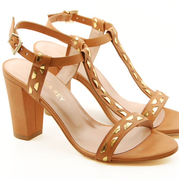 cefa09d198bc NIB Marisa Rey Tan Heeled Leather Sandals. Boutique